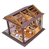 S.T Hecho a Mano DIY Miniatura Doll House Sakura Flower Wooden Sushi Shop Japanese Doll House Assembly Model