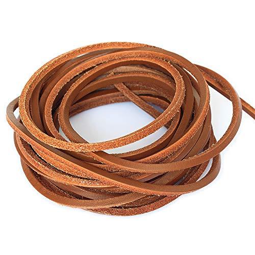 LolliBeads (TM) 3mm Flat Genuine Leather Cord Braiding String Light Brown (5 Yards)