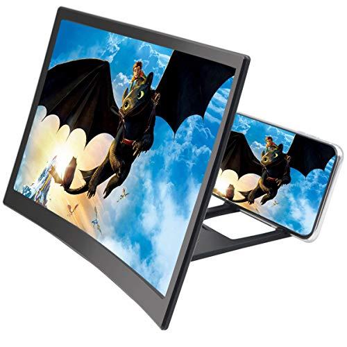 Ingrandimento Dello Schermo del Telefono con 12 Ingrandimenti, Supporto per Amplificatori video HD, Supporto per Schermo Curvo, Lente d'ingrandimento per tutti gli smartphone