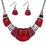 YAZILIND vendimiae Collar étnico Tibetano Fragmentado Rojo Turquesa Pendientes Collar Babero de la joyería