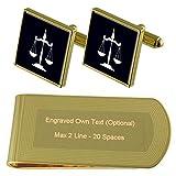 Select Gifts Escalas de Tono Oro Abogado Jsutice Gemelos Money Clip Grabado Set de Regalo
