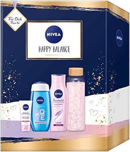 NIVEA Happy Balance Geschenkset, Set mit stylischer Trinkflasche, Pflegedusche, Shampoo und 24h Tagespflege, Pflegeset voller Verwöhnmomente zum Verschenken