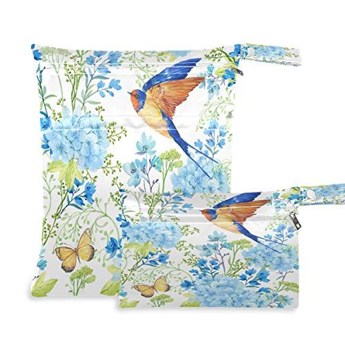 F17 - 2 bolsas húmedas secas para pájaros, golondrina de mariposa, diseño de flores, impermeable, reutilizable para viajes, natación, playa, cochecito, ropa de gimnasio sucio