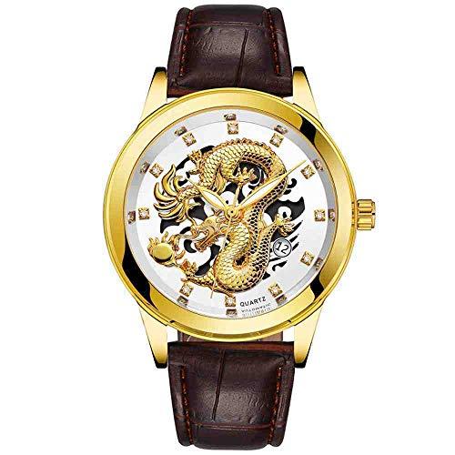 OLUYNG Reloj de Pulsera Relojes Hombre Impermeable Gold Dragon Sculpture Quartz Watch Leather Band Reloj de Pulsera, Blanco