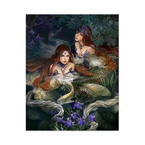 Erwachsene malen nach Zahlen Öl DIY Öl Leinwand malen nach Zahlen Marsh Mermaid malen nach Zahlen für Erwachsene für Wohnkultur-2973-60x75cm DIY Rahmen,