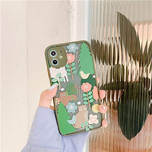 WGOUT Nueva Funda de teléfono con Estampado de Flores Bonitas de Moda para iPhone 11 11Pro MAX X XR XS MAX 7 8 Plus SE 2020 Carcasa Trasera de Animal Lindo, T3, para iPhone 8