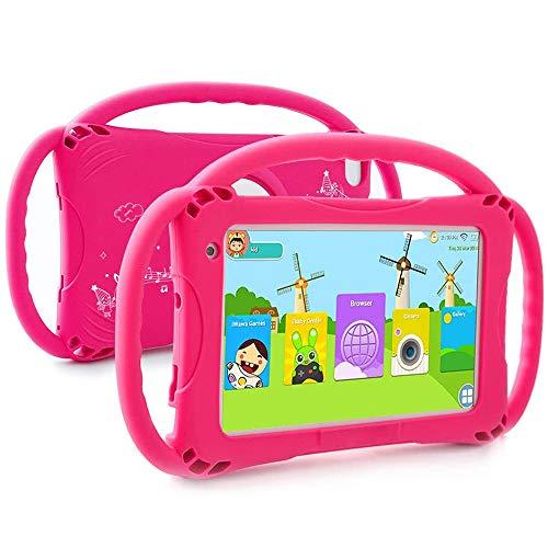 tablet para niños de 7 Pulgadas con Pantalla de Alta definición, Pantalla táctil con Cubierta Protectora de Silicona, niños portátil de Gran Capacidad