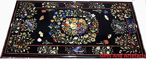 Cadeaus en kunstvoorwerpen marmer eettafel top ingelegd Pietra Dura kunst met bladeren Floral Design Cottage handwerk 36 x 72 inch