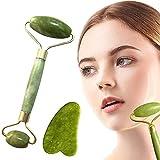 jade roller & gua sha, rullo facciale in giada naturale, massaggiatore facciale anti-età, massaggio viso collo, riduce le rughe e rassoda la pelle vera pietra di giada naturale.