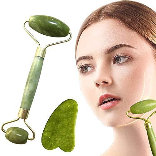 Kit de masaje de jade y gua Sha, rodillo facial de jade natural, masajeador facial con rodillos antiedad, masaje del cuello de la cara, reduce las arrugas y refuerza la piel de jade