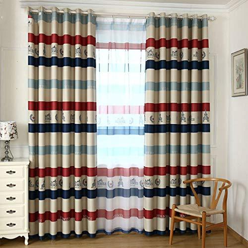 Oogje Gordijnen -Color Horizontale Patroon van de Strepen Gordijnen Zonnescherm Window Gordijnen for Living Room, 200x270CM 413 (Color : A, Size : 300x270cm)