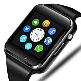 321OU Smart Watch Compatible iOS iPhone Android Samsung LG, Touchscreen Bluetooth Smartwatch Fitness Watch with SIM SD Card Slot Camera Pedometer for Women Men (Black)