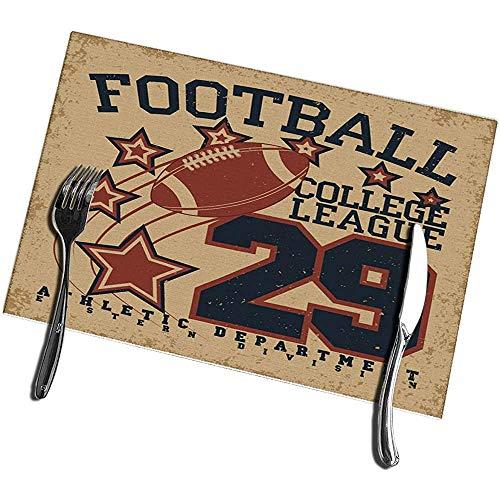 Beryl Shop Tischsets für Esstisch 6er-Set Vintage Grange Stamp Fußball Emblem Sport Kreativ Waschbar Leicht zu reinig Tischset