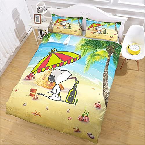 Juego de Funda nórdica 135x200 cm Playa Snoopy Funda Edredon Juveniles con Funda Almohada de 50x75...