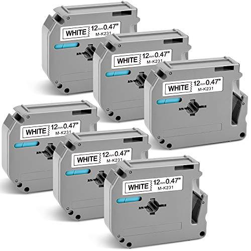 Airmall Compatible Label Tape Replacement for Brother P-Touch M-K231 M-231 MK231 M231 M Tape 12mm 0.47 Inch for P Touch PTM95 PT-70BM PT-90 PT-M95 PT-65, Black on White, 26.2 Feet (8m), 6-Pack