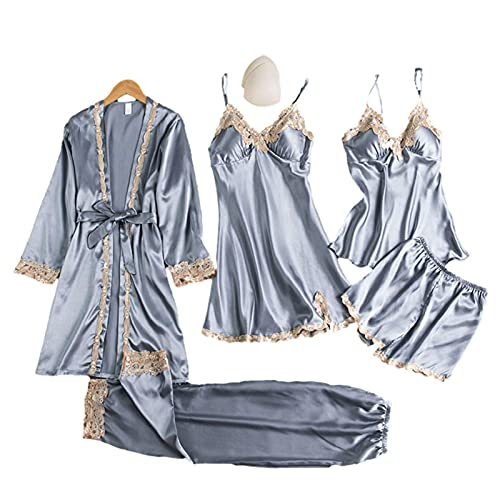 Raspbery Conjuntos de lencería de Satin Pijama Desgaste de la casa con Encaje Floral Sexy cómodo Transpirable Ligero Ropa de Dormir para Mujeres Damas Premium