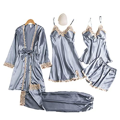 Molare Conjunto De Pijama De Conjuntos De Lencería De Pijama Satinado con Encaje Floral para Mujer Ropa De Dormir En V con Encaje Floral Candid