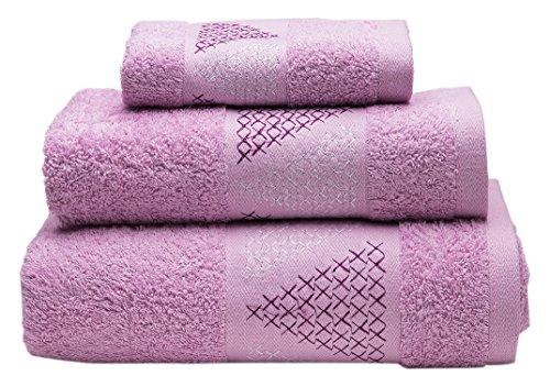 Sancarlos Juego de toallas bordadas, Algodón, Rosa, 3