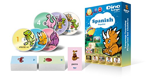 Spanish for Kids - Learning Spanish for Children Standard DVD Set (6 DVDs), Spanish flashcards (150 cards)