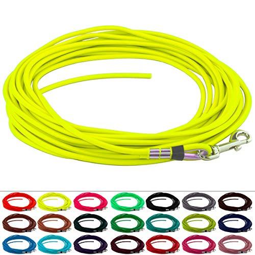 LENNIE BioThane Schleppleine, rund, Ø 6mm, Hunde 15-25kg, 10m lang, ohne Handschlaufe, Neon-Gelb