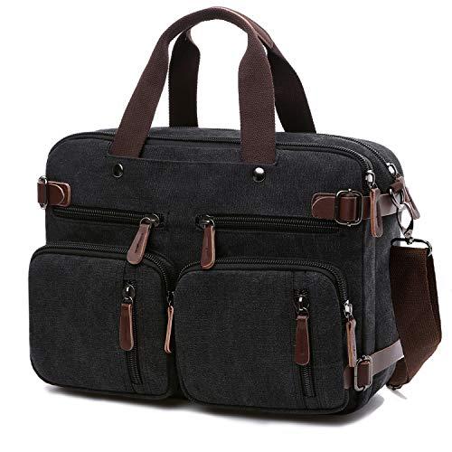 Convertible Laptop Backpack 17.3 Inch Messenger Bag for Men Women (17.3 Inch, Black)