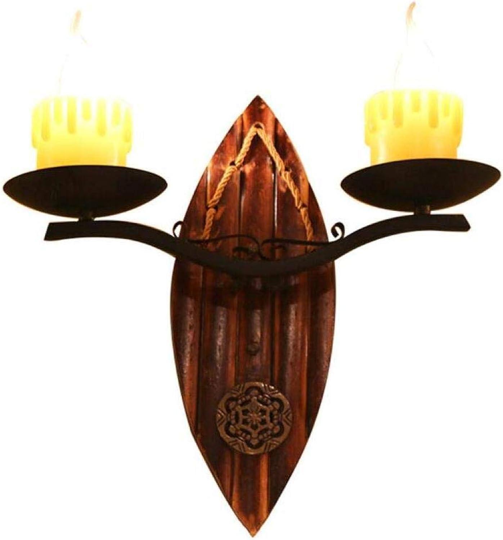 Kreative Kerzenleuchter Rustikaler Wandleuchter Vintage Wandlampe 2 Flammig Holzsockel MeGrößerm,Schwarz,A