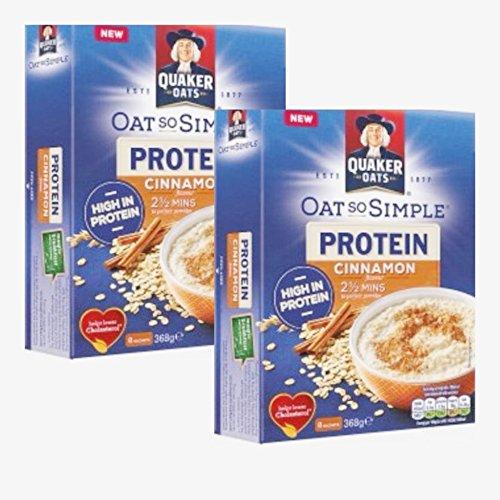 Quaker Oat So Simple Protein Porridge Cinnamon 2x Pack 8x 368g (736g) - Vollkorn Haferflocken mit Zimt