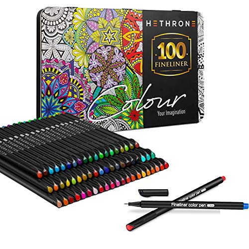 Hethrone Finliner Pens - Journaling Pens Felt Tip Colored Pens Fine Tip Art Markers for Adults and Children Bullet Journaling Writing Coloring (100 Color)