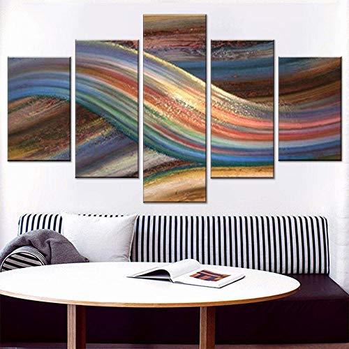 CGHBDOP Cuadro En Lienzo200Cmx100Cm Impresión De 5 Piezas Tejido No Tejido Impresión Artística Cinta Arco Iris Abstracto Imagen Gráfica Decoracion De Pared