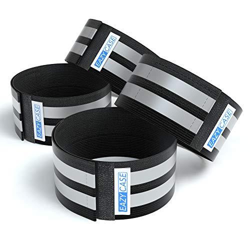 EAZY CASE 4 x Reflektorband, Reflektoren Set, reflektierendes Klettarmband, Sicherheitsarmband, Reflektorenbänder - ideal zur Erhöhung der Sichtbarkeit, Schwarz