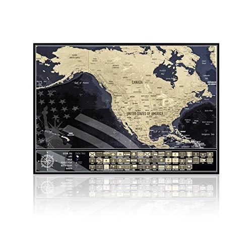 Mappa da grattare Stati Uniti con bandiere degli stati, Mappa USA da viaggio, Prodotto in Europa, Dimensioni mappa 42 cm x 29,7 cm