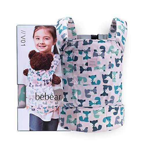 Bebamour Portabebés de algodón para niñas Accesorios para muñecos de bebé Juguetes para niños Muñeca Bolsa 3 en 1 Portabebés Sling Muñeca Baby Garabatos, Gris Púrpura con Ovejas (Rosa claro con zorro)