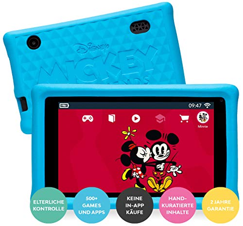 Pebble Gear Disney Kids Tablet 7' Mickey and Friends Kinder Tablet mit kindgerechter...