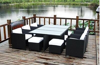 husen 13 Piece Outdoor Sectional Dining Wicker Patio Furniture Set