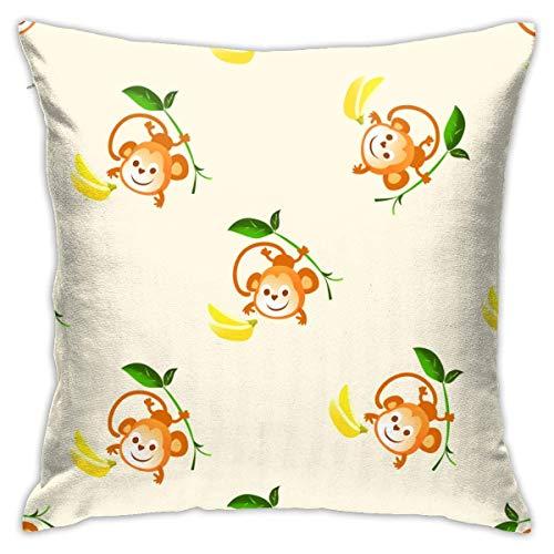 AEMAPE Funda de Almohada con diseño de Mono Salvaje de Animales para bebés, Funda de cojín Cuadrada, sofá Decorativo para el hogar, 18 x 18 Pulgadas