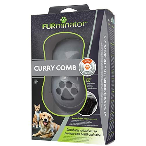 FURminator Striegel für Hunde, Fellpflege Hundebürste zum Ausbürsten von Staubundlosem Haar für gesundes glänzendes Fell, mit Gummi Noppen und ergonisch geformtem Griff - 4