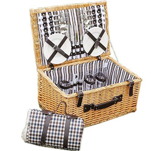 Chengzuoqing Picknickkorb Wicker Picknickkorb Set Große Weidenkorb, kostenlose wasserdichte Decke und Besteck Service-Kit for 4 Personen für Familienschularbeiten (Color : A, Size : 51X35X26CM)