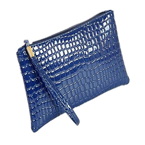 DAY.LIN Damen Krokodil-Muster Geldbörse Handtasche Frauen Krokodilleder Clutch Handtasche Tasche Geldbörse (Blau)