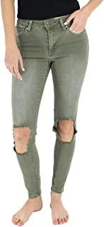 Grace and Lace Womens Juniors Ripped Blowout Knee Olive Sage Green Jeggings Jeans