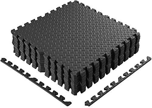 Homgrace Schutzmatten Set 60 x 60 cm Bodenschutzmatten Trainingsmatten Puzzlematten für Bodenschutz, Büro, Fitnessraum, Garage, Fitnessgeräte, Fitness, Yoga, Schwarz - 16 Matten