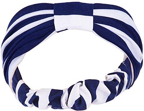 Unbekannt Striped ELLI Sailor Streifen Haarband/Stirnband - Blau Rockabilly
