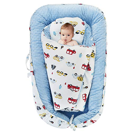 Find Bargain Oenbopo Baby Lounger Minky Cover Baby Bassinet Portable Sleeping Baby Bed with Pillow a...