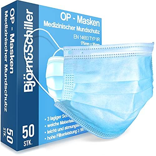 OP Masken CE zertifiziert EN 14683 Type IIR, 50 Stück, medizinischer Mundschutz, 3-lagige Einweg Gesichtsmasken blau, atmungsaktive und komfortable Einwegmaske, Mund und Nasenschutz für den Alltag