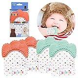 NEPAK 4 Pack Baby Teething Mitten,Baby Beißhandschuhe,Knisternder Handschuh für Babys Coral + Mint Colours 3-6 monate