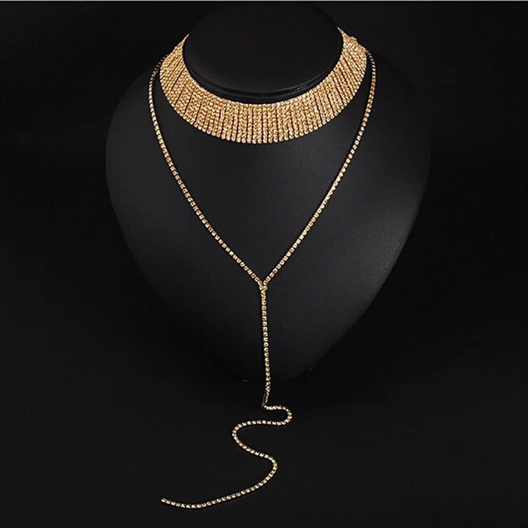 Jiamusi New Women Rhinestone Pendant Chain Choker Collar Bib Necklace (Gold)