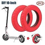 SUNJULY Neumáticos de Scooter Eléctrico para M365, Neumático de Patín de 10 Pulgadas Antideslizante, Rueda Antipinchazos Neumático Delantero para Xiaomi Mi M365 - Rojo-2pcs