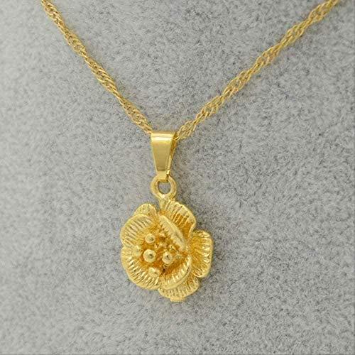 YOUZYHG co.,ltd Collar Mujer Collar Encantos Flor Colgante Collar Cadena Fina Joyas de Color Dorado Mujeres Chica Hermosos Regalos