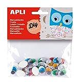 APLI - Bolsa ojos móviles colores ovalados adhesivos, 40 uds