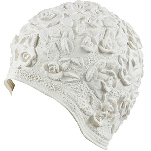 Beemo Latex Swim Cap - Women Stylish Swimming Cap Great for Ladies, Perfect to Keep Hair Dry - Suitable for Long Hair - Embossed Flower - White