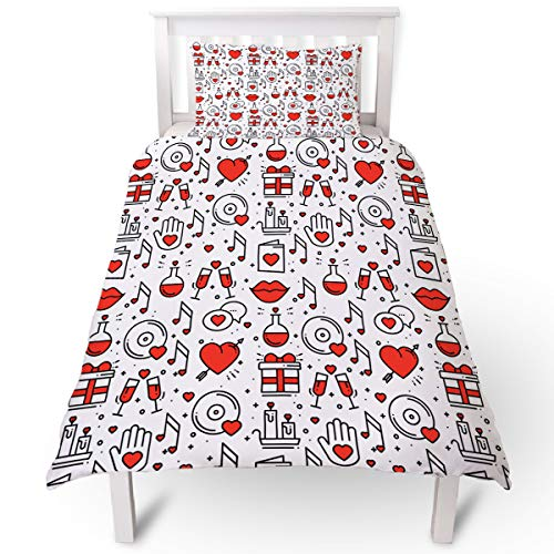 Valentine's Day Duvet Cover Set 2 Piece Set Microfiber Hotel Collection Ultra Soft Comforter Cover with Zipper Closure and 1 Pillowcases, Emoji Pattern Hearts Lips Candles - Twin